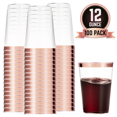 100 Rose Gold Plastic Cups 12 Oz Clear Plastic Cups Tumblers Rose Gold Rimmed Cups Fancy Disposable Wedding Cups Elegant Party Cups with Rose Gold Rim