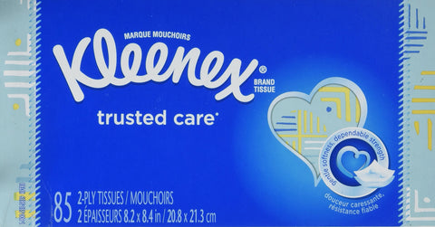Kleenex Trusted Care Everyday Facial Tissues, Flat Box, 85 Tissues per Flat Box, 1 Pack