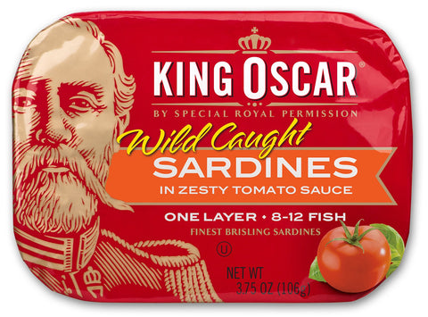 King Oscar Wild Caught Sardines Zesty Tomato, 3.75-Ounce (Pack of 12) Pack of 12