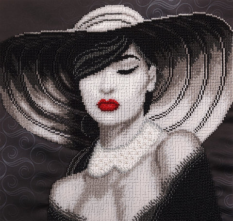 Lady  Beads embroidery kit; contemporary embroidery; gift idea; needlepoint design; decor; seed beads Preciosa;