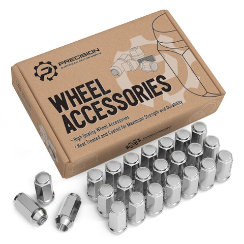 24pcs Silver Chrome Bulge 1/2x20 Lug Nuts - Conical Cone Taper Acorn Seat Closed End Extended - 1.8 inch Length - for 6Lug Dodge Viper Dakota Durango - Installs with 19mm or 3/4 inch Hex Socket
