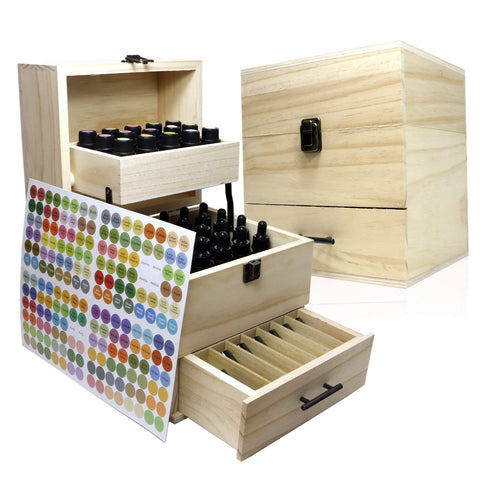 SXC Essential Oil Wooden Box Multi-Tray Organizer, 3 Tiers Storage Case Protects 45 5-15 mL Essential Oil Bottles and 14 10 mL Roller Bottles for Travel and Presentations