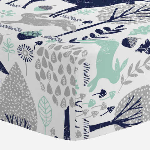 Carousel Designs Navy and Mint Woodland Animals Crib Sheet - Organic 100    Cotton Fitted Crib Sheet - Made in The USA
