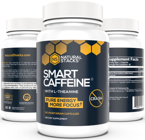 Natural Stacks: Smart Caffeine - Energy Supplement - 60 Capsules - Creates Long-Lasting Energy - Prevents Caffeine Crashes - Increases Alertness and Productivity