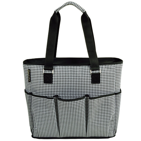 Picnic at Ascot 541-HT Large Insulated Multi Pocketed Travel Bag with 6 Exterior Pockets, Black Houndstooth