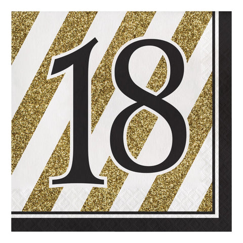 Creative Converting 317537 16-Count Paper Lunch Napkins, 18, Black and Gold, One size, Happy Birthday