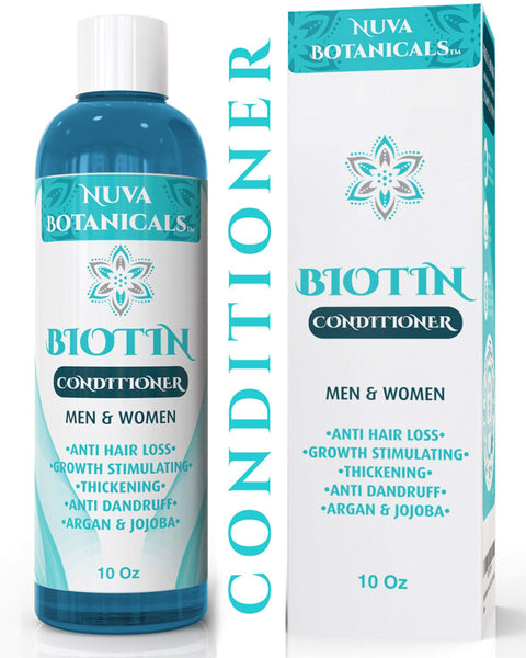 Nuva Botanicals Biotin Conditioner For Hair Growth – Natural Thickening Treatment For Hair Loss and Thinning – Stimulate Thicker Regrowth - Sulfate Free & Paraben Free – For Women and Men