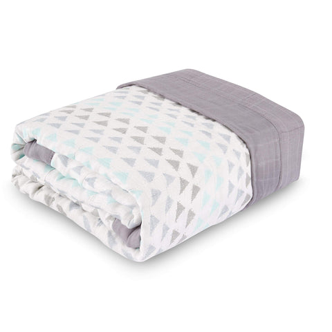 aden + anais Oversized Blanket; 100% Viscose from Bamboo; 4 Layer Lightweight and Breathable; 60 X 70 inch; Skylight Birch Metallic Skylight Birch