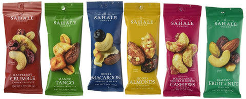 Sahale Snacks All Natural Nut Blends Grab And Go Variety Pack (1.5 oz x 12 Packs) with 2 x 2  Snack Clips Pack of 12