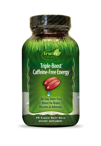 Triple-Boost Caffeine-Free Energy by Irwin Naturals, Jitter-Free Boost for Brain, Muscles and Adrenals, 75 Liquid Softgels, 2 Pack