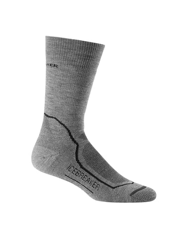 Icebreaker Merino Wool Mens Hike+ Medium Crew Sock Twister Heather/Black/Monsoon X-Large