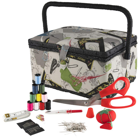 SINGER 07281 Vintage Sewing Basket with Sewing Kit Accessories