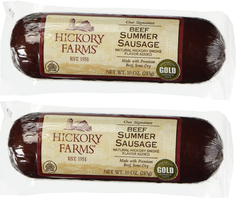 Hickory Farms Beef Summer Sausage 10 Ounce (Pack of 2) Pack of 2