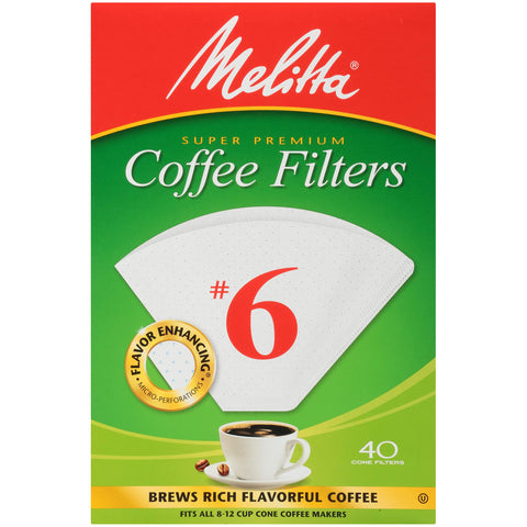 Melitta (626402C) #6 Super Premium Cone Coffee Filters, White, 40 Count (Pack of 12) Pack of 12