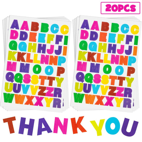 20 Sheets Alphabet Letter Stickers 10 Colors Self Adhesive Sticker Colorful PU Material Convex Feeling (Colored Letter Stickers 1) Colored Letter Stickers 1