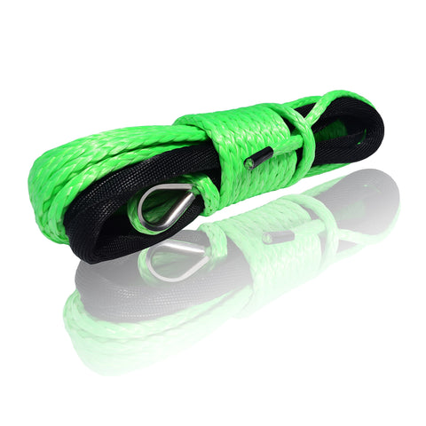 QIQU 1/4 inch Synthetic Winch Rope Cable Winch Rope for Snow Plow ATV and Electronic Winch Including Sleeve BS: 6500lb (1/4'', Green) 1/4''