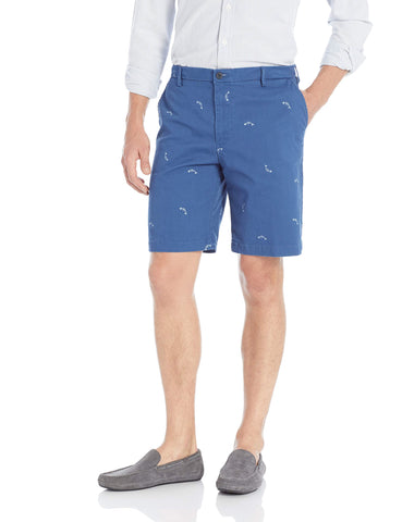 IZOD Men's Saltwater Stretch 9.5  Chino Printed Shorts 38 Navy Legacy 1
