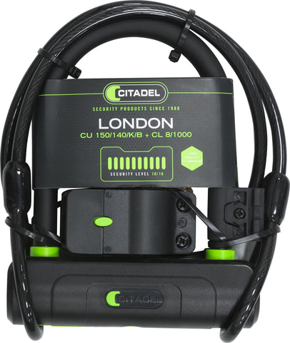 Citadel Bike Lock - Compact, Adult/Kids Bicycle Chain, U-Lock and Combo Cable London U-lock and Cable