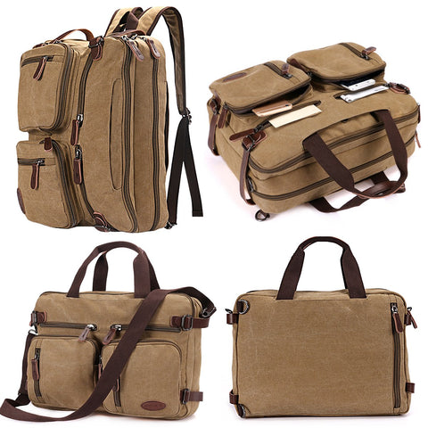Laptop Backpack,Multifunction Briefcase Messenger Bag 15.6 Inch Laptop Bag for Men,Women Khaki