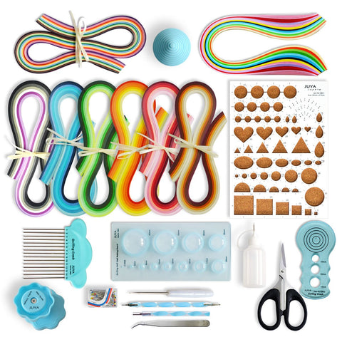 JUYA Paper Quilling Kits with 960 Strips and 13 Tools (Blue Tools, Width 3mm Have Glue) Blue Tools