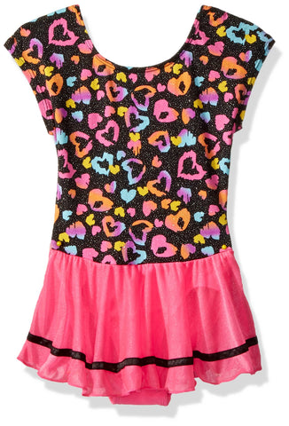 Jacques Moret Girls' Classic Short Sleeve Skirted Leotard Large Spotted Love Printed Wiith Pink Skirt