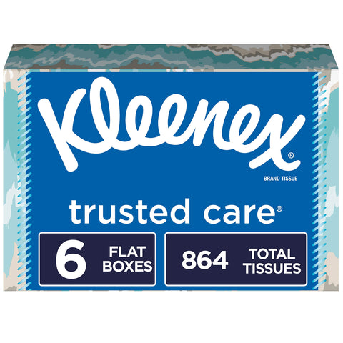 Kleenex Trusted Care Facial Tissues, 6 Flat Boxes, 144 Tissues per Box (864 Tissues Total) NEW Flat 6 Boxes