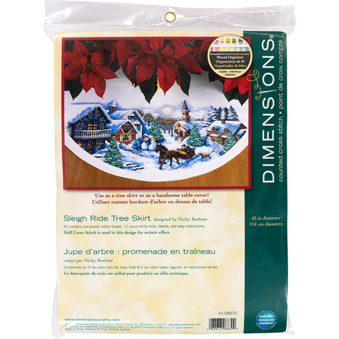 "Dimensions Counted Cross Stitch Tree Skirt Kit, Sleigh Ride, 11 Count White Aida, 45"" D"