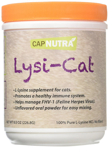 Lysi-Cat Lysine Supplement for Cats, 8 oz. Canister, 500 Servings, Supports a Healthy Immune System, Free Scoop Included!