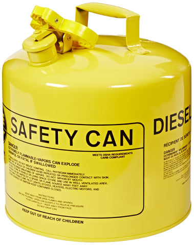 Eagle UI-50-SY Type I Metal Safety Can, Diesel, 12-1/2 in Width x 13-1/2 in Depth, 5 Gallon Capacity, Yellow
