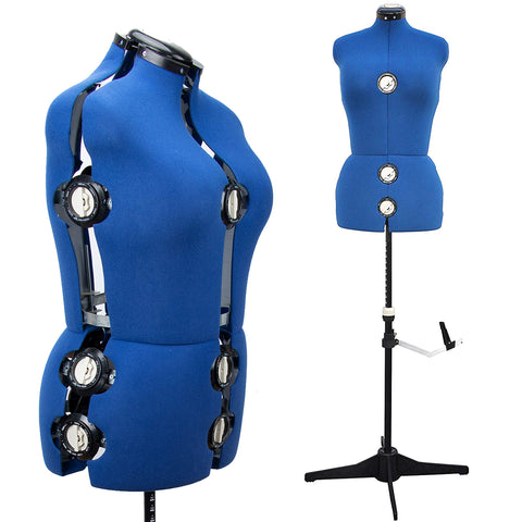 "13 Dials Female Fabric Adjustable Mannequin Dress Form for Sewing, Mannequin Body Torso with Tri-Pod Stand, Up to 70"" Shoulder Height. (Large) L Size"