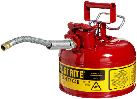 Justrite 7210120 AccuFlow 1 Gallon, Galvanized Steel Type II Red Safety Can With 5/8  Flexible Spout