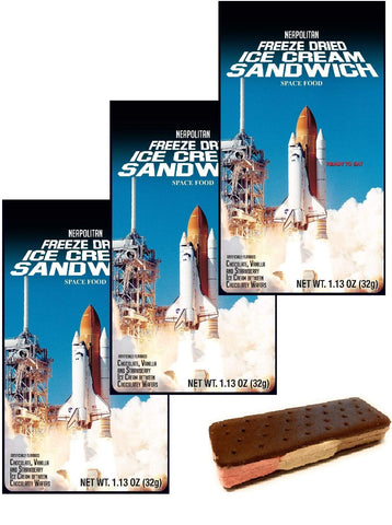 Astronaut Ice Cream Freeze Dried Neapolitan Sandwich (Chocolate-Vanilla-Strawberry) - 3 Pack