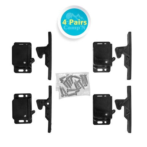 Camp'N -4 Pair- Push Catch - Latch - Grabber - Holder for RV Cabinet Doors with Mounting Hardware - 5 lbs Pull Force - Perfect for RV, Trailer, Camper, Motor Home, Cargo Trailer - OEM Replacement 4 Pairs