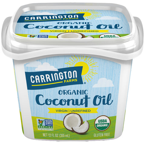 Carrington Farms Gluten Free, Unrefined, Cold Pressed, Virgin Organic Coconut Oil, 12 oz. (Ounce), Perfect Coconut Oil For Skin & Hair Care, Cooking, Baking, Smoothies