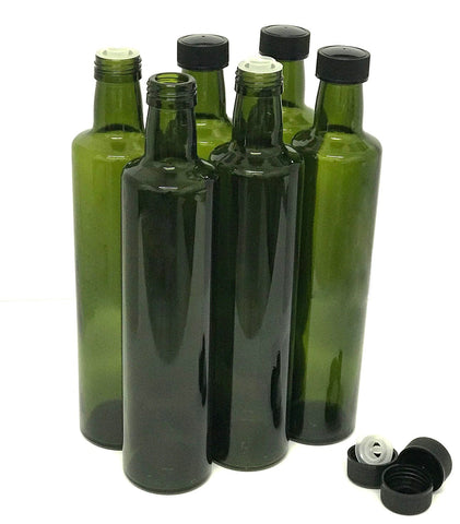 Olive Oil Bottles with Cap & Pourer Fitment, Empty, 500ml - Pack of 6