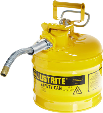 Justrite 7220220 AccuFlow 2 Gallon, .3 Size, 9.50  OD x 13.25  H Galvanized Steel Type II Yellow Safety Can With 5/8  Flexible Spout