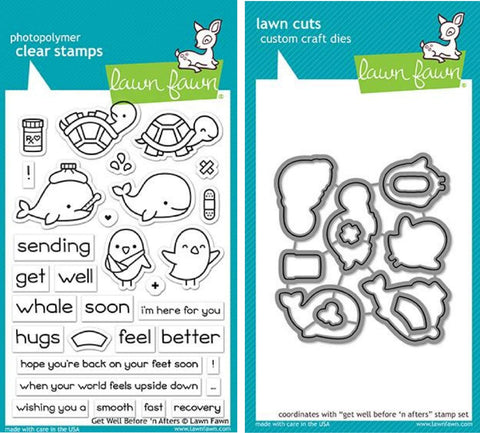 Lawn Fawn Get Well Before 'n Afters 4 x6  Clear Stamp Set and Matching Lawn Cuts Die Set (LF1886, LF1887), Bundle of Two Items