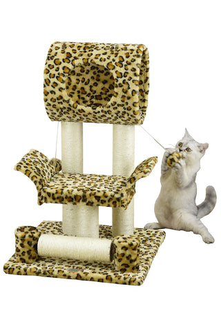 "Go Pet Club Brown 28"" Cat Tree Condo Leopard Print"