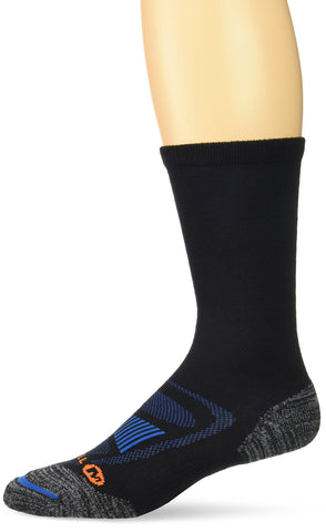 Merrell Men's 1 Pack Cushioned Zoned Light Hiker Socks (Low/Quarter/Crew Socks) Black (Crew) Shoe Size: 9.5-12 Crew