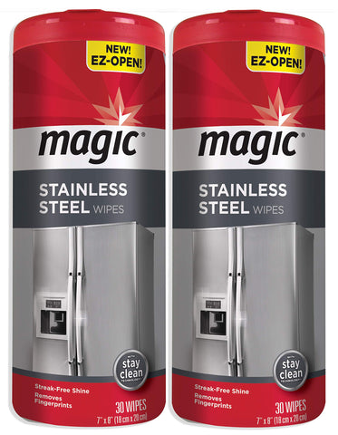 Magic Stainless Steel Wipes (2 Pack) Removes Fingerprints, Residue, Water Marks and Grease from Appliances - Works Great on Refrigerators, Dishwashers, Ovens - 30 Count
