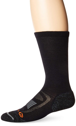 Merrell Men's 1 Pack Cushioned Zoned Light Hiker Socks (Low/Quarter/Crew Socks) Onyx (Crew) Shoe Size: 9.5-12 Crew