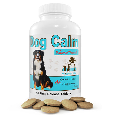 DOG CALM a Relaxing Non-Medication Supplement Quiets Anxiety and Aids Restfulness. Natural Herbs Reduce Stress, Fears of Fireworks, Thunderstorms & Travel. Calms Hyper & Nervous Behavior.