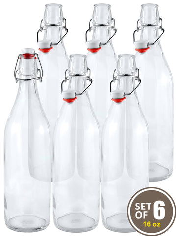 Estilo Swing Top Easy Cap Clear Glass Beer Bottles, Round, 16 oz, Set of 6