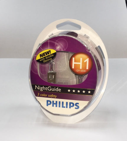 Philips Night Guide H1 bulbs - Double lifetime 12V 55W Twin Pack
