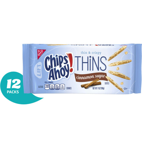 Chips Ahoy! Thins Cinnamon Sugar Cookies, 7 Ounce (Pack of 12)