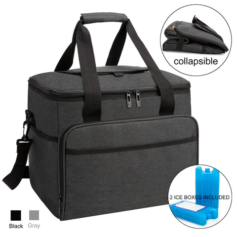apollo walker Collapsible Insulated Soft 40-Can Cooler Bag 30L with 2 Ice Packs - Roomy for Family Reunion, Party, Beach, Picnics, Sporting Music Events, Everyday Meals to Work (Black) Black