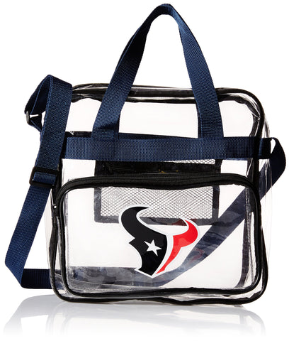 Forever Collectibles NFL Football Team Logo High End See Thru Clear Messenger Bag Houston Texans