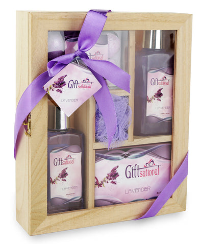 Spa Gift Basket With Sensual Lavender fragrance, Best Mother's Day, Birthday, Wedding, Anniversary Gift for Women Friends & Girls, Bath set Includes Shower Gel, Bubble Bath, Bath Bombs and Much More
