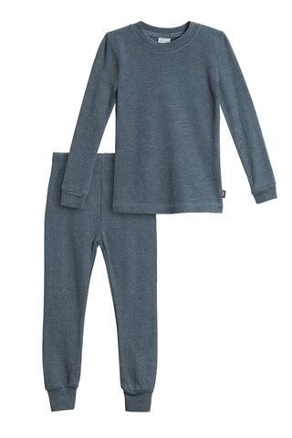 City Threads Boys' Thermal Underwear Long John Set - Made in USA Mindnight W/ Baby Blue Stitch 12/18M