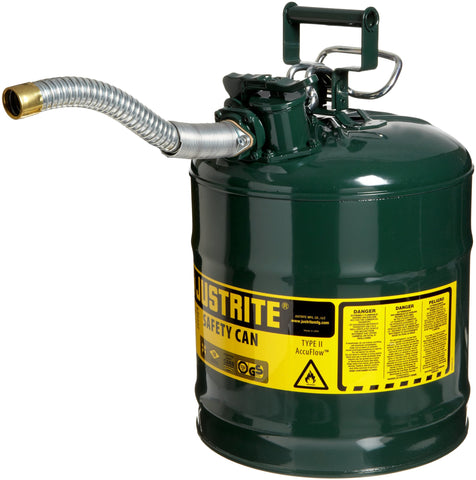Justrite 7250430 AccuFlow 5 Gallon, 11.75  OD x 17.50  H Galvanized Steel Type II Green Safety Can With 1  Flexible Spout